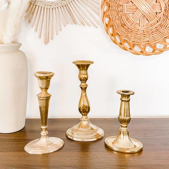 Set of 3 Vintage Solid Aged Brass Candlesticks MCM
